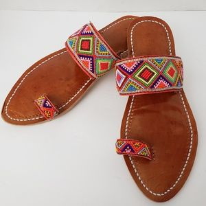 Shoes - Leather Boho Festival Beaded Sandals size 7